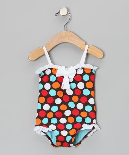 Brown & Blue Spot-On Ruffle One-Piece - Infant & Toddler