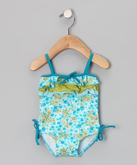 Turquoise Floral Ruffle One-Piece - Infant & Toddler