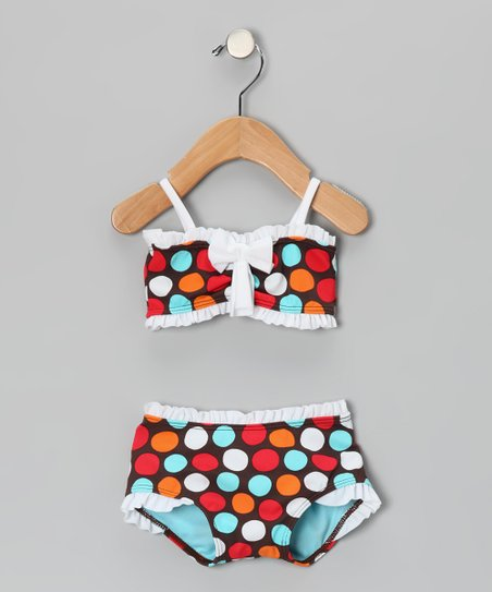 Brown & Blue Spot-On Bandeau Bikini - Infant, Toddler & Girls