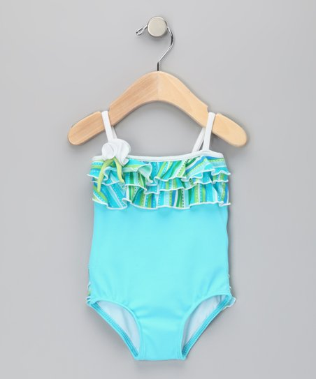 Aqua Little Mermaid Ruffle One-Piece - Infant & Toddler