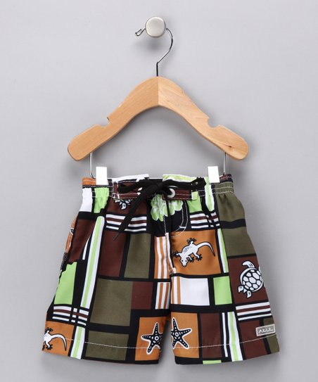 Brown Squares & Creatures Swim Trunks - Infant, Toddler & Boys
