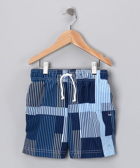 Blue Boxy Stripe Swim Trunks - Boys