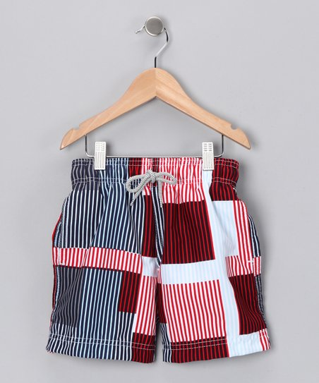 Red Boxy Stripe Swim Trunks - Boys