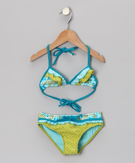 Turquoise Floral Ruffle Triangle Bikini - Toddler & Girls