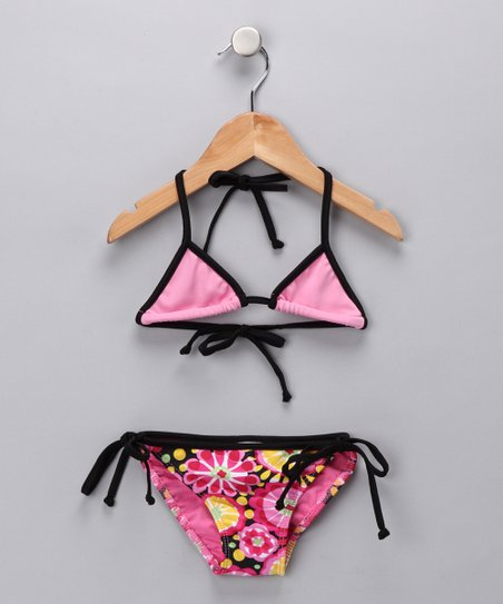 Pink Fresh Blossom Triangle Bikini - Girls