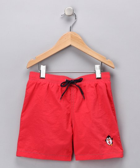 Red Pipeline Swim Trunks - Toddler & Boys