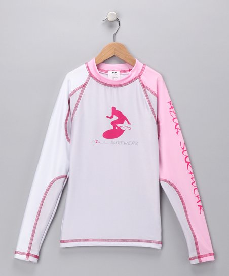 White &amp; Pink Long-Sleeve Rashguard - Infant, Toddler &amp; Girls