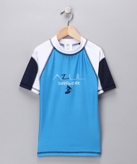 White & Blue Short-Sleeve Rashguard - Boys
