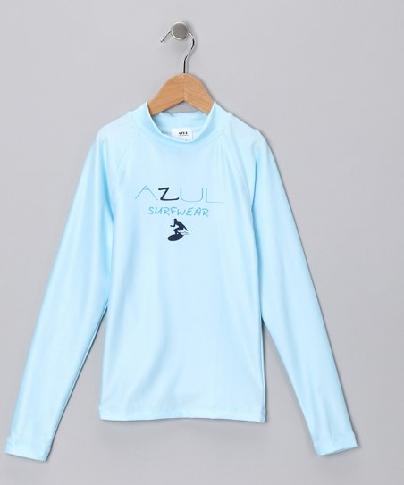 Light Blue Long-Sleeve Rashguard - Infant, Toddler & Kids