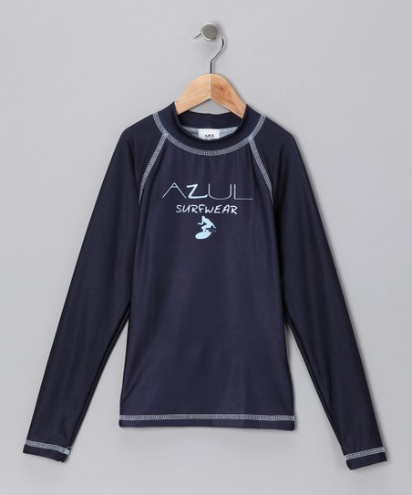 Navy Blue Long-Sleeve Rashguard - Infant, Toddler & Kids