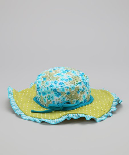 Turquoise Floral Ruffle Sunhat