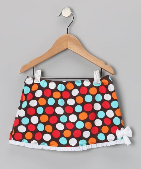 Brown & Blue Spot-On Swim Skirt - Toddler & Girls