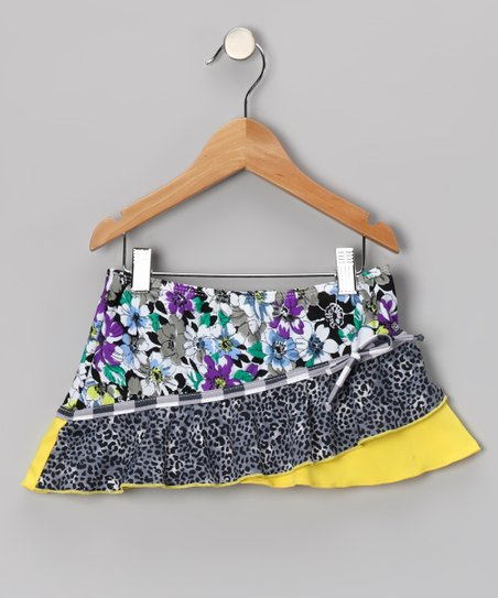 Yellow Fierce & Floral Swim Skirt - Girls