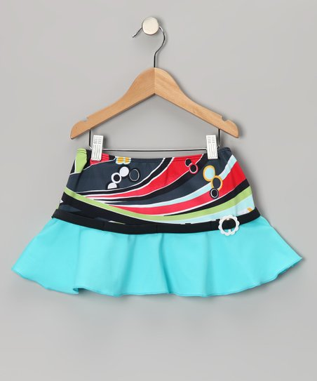 Blue Rockin' Retro Swim Skirt - Girls
