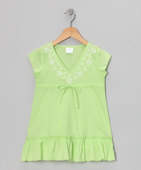 Green Embroidered Tie Tunic - Toddler & Girls