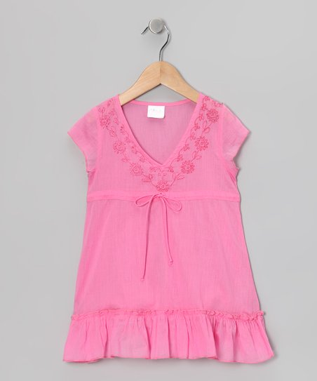 Pink Embroidered Tie Tunic - Toddler & Girls