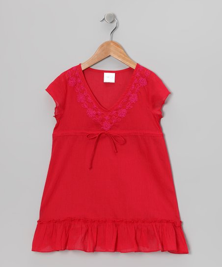 Red Cap-Sleeve Tunic - Toddler & Girls