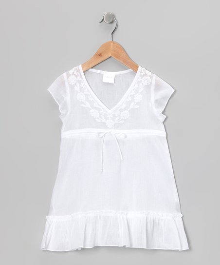 White Embroidered Tie Tunic - Girls