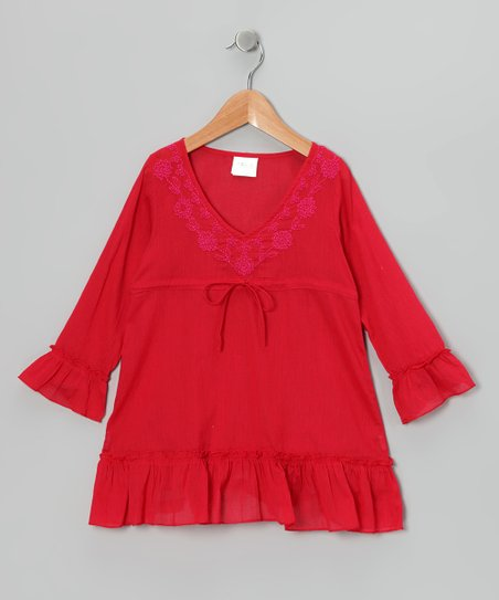 Red Long-Sleeve Ruffle Tunic - Toddler & Girls