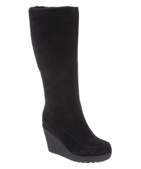 Black Suede Brighton Wedge Boot - Women