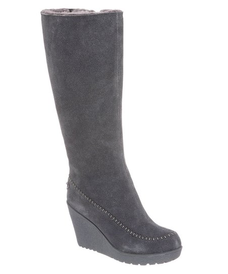 Charcoal Suede Brighton Wedge Boot - Women