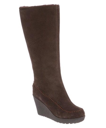 Chocolate Suede Brighton Wedge Boot - Women