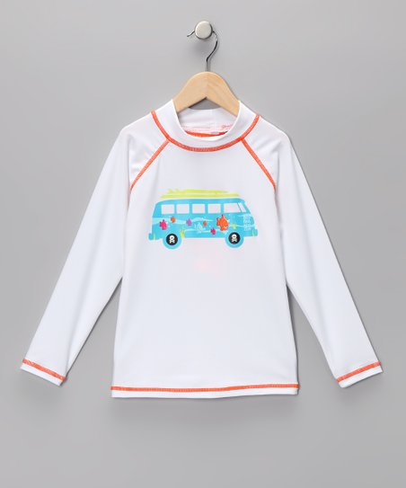 White Surf Bus Rashguard - Kids