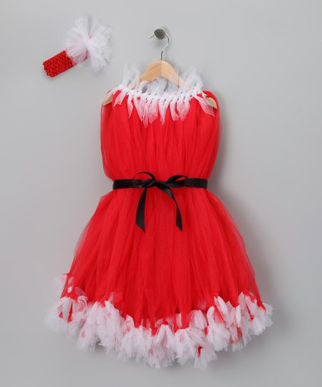 Red & White Tulle Dress & Headband - Infant, Toddler & Girls