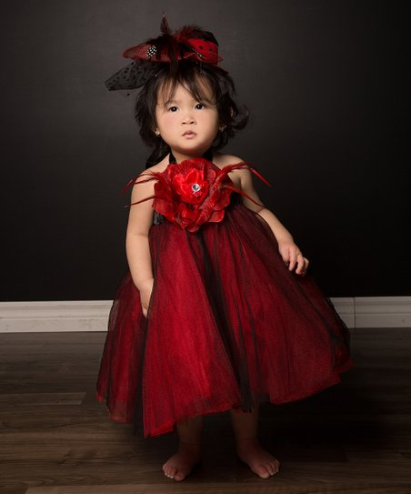 Red & Black Rose Tulle Dress Set - Infant & Toddler