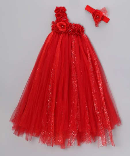 Red Rose Tulle Dress &amp; Headband  - Infant, Toddler &amp; Girls