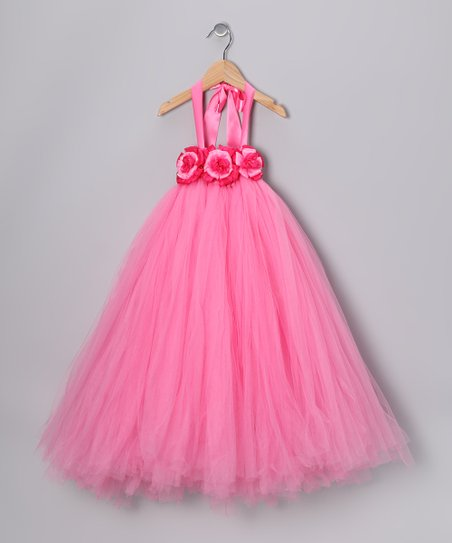 Pink Flower Tulle Dress - Infant