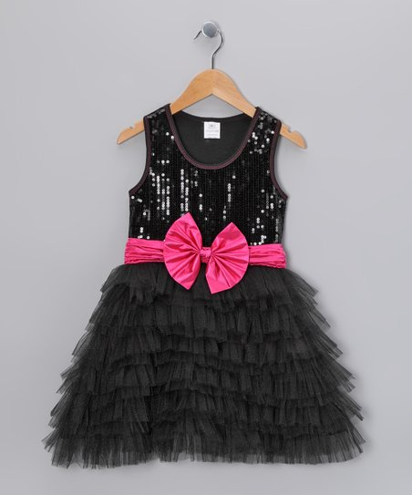 Black Sequin Tulle Ruffle Dress - Toddler & Girls