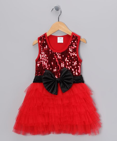 Red Sequin Tulle Ruffle Dress - Toddler & Girls