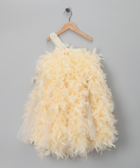 Cream Feather Asymmetrical Dress - Infant & Toddler