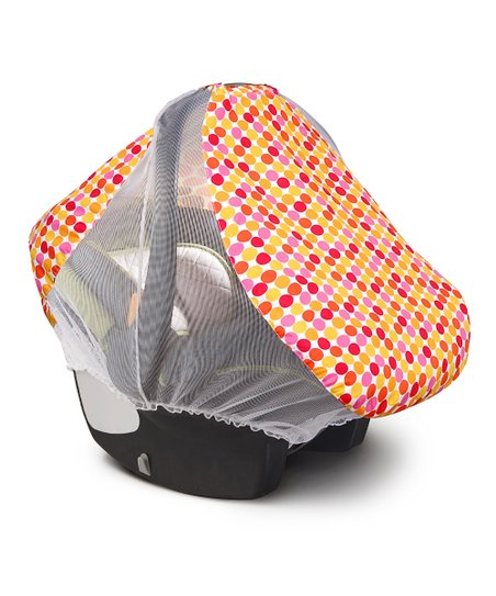 BabbaCo Pink Polka Dot Airy Cotton Car Seat Cover