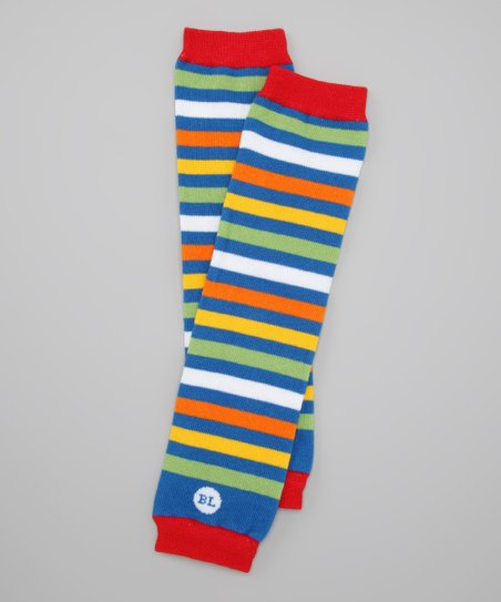 Baby Legs Red & Blue Stripe Rowdy Leg Warmers