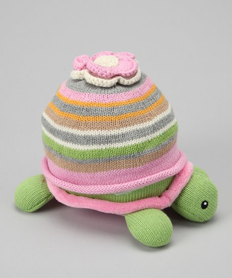Pink Plush Turtle & Beanie Set
