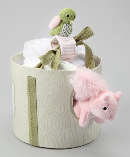 Pink Plush Pearl the Squirrel Stroller Blanket Set