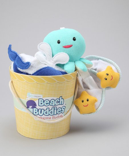 Blue Beach Buddies Hooded Towel Set