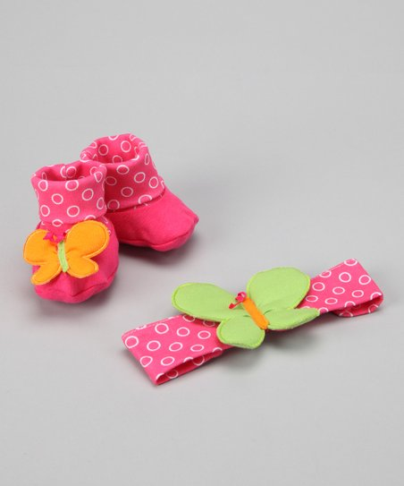 Pink Butterfly Headband & Booties Set