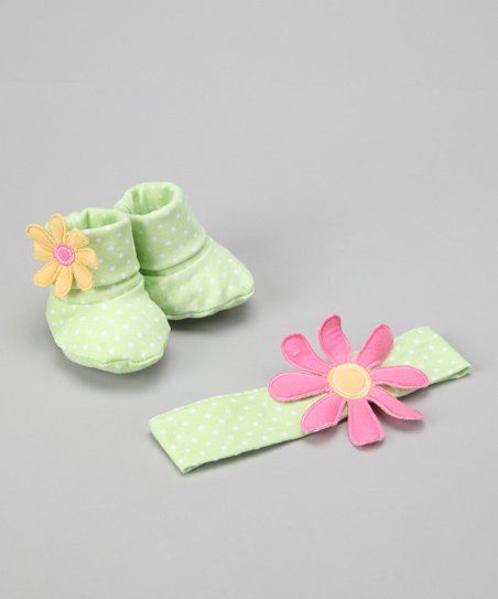 Green Bunch O&#039; Blooms Headband &amp; Booties Set