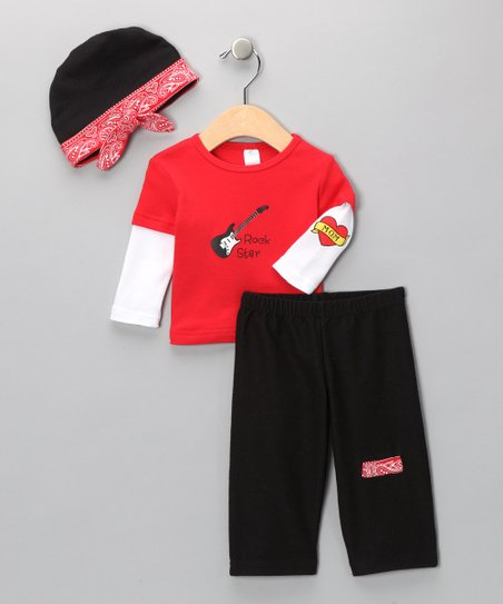 Red Big Dreamzzz Baby Rockstar Layette Set
