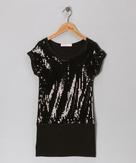 Baby Baby by Blush Black Sequin Drop-Waist Dress - Girls