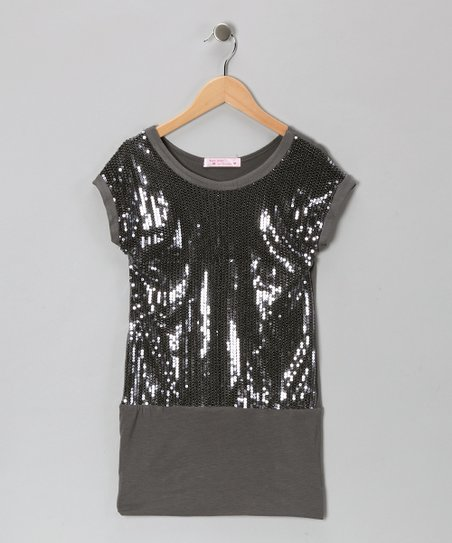 Baby Baby by Blush Charcoal Sequin Drop-Waist Dress - Girls