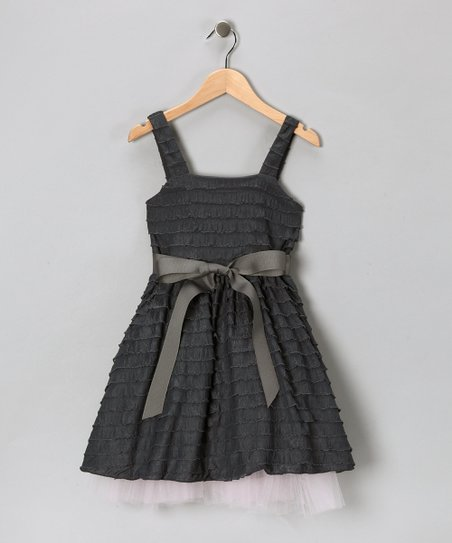 Baby Baby by Blush Charcoal Tulle Ruffle Dress - Infant