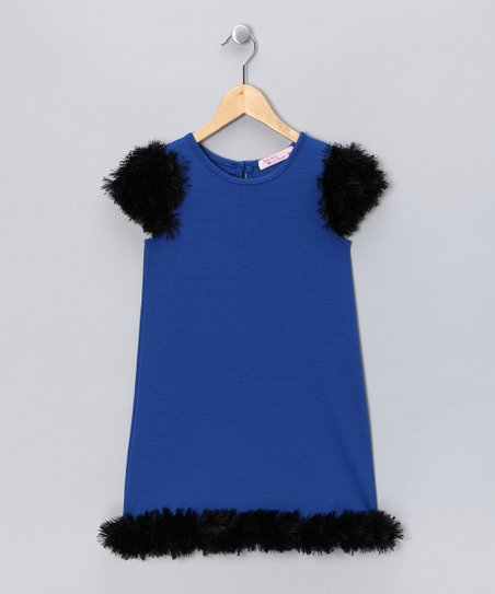 Baby Baby by Blush Royal Blue Feather Dress - Girls