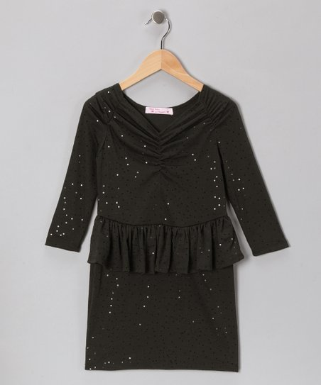 Baby Baby by Blush Black Sequin Peplum Dress - Girls