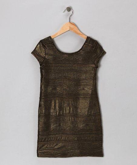 Baby Baby by Blush Black & Gold Shimmer Dress - Girls