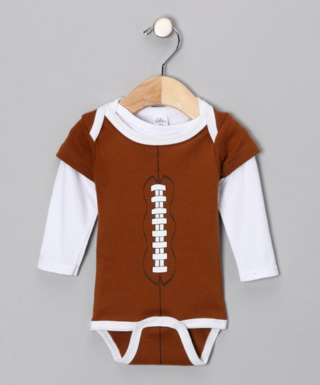 Brown Football Bodysuit & Tee