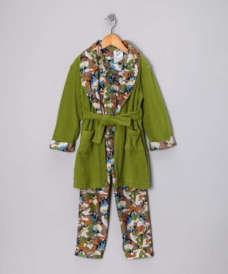 Green Dinosaur Bathrobe Set - Infant